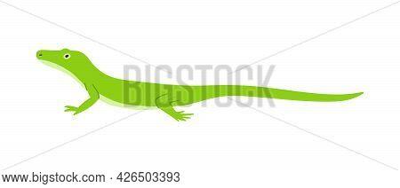 Green Minimalist Gecko Or Salamander Lizard Vector Illustration Isolated.