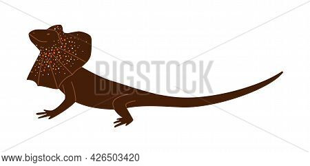 Brown Wild Frill Reptile Lizard A Flat Cartoon Vector Isolated Illustration.