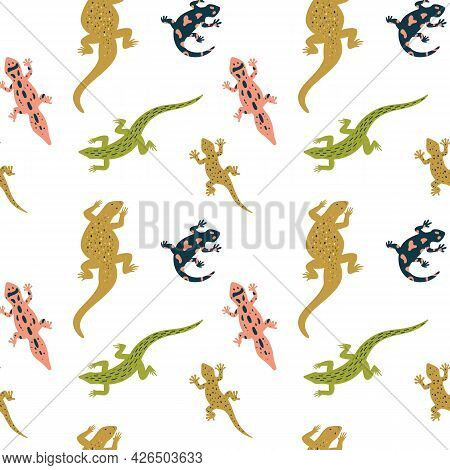 Seamless Background With Different Wild Color Lizards A Vector Illustration.
