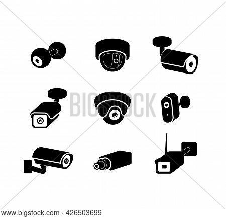 Video Surveillance Cctv Camera Black Icons Set, Vector Illustration Isolated.