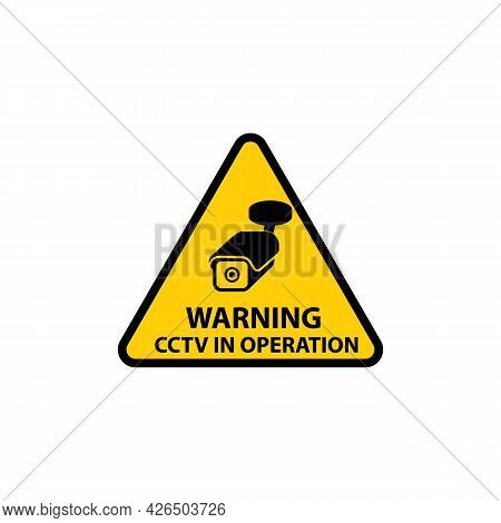 Warning Cctv In Operation Sign In Triangle Shape, Vector Illustration Isolated.