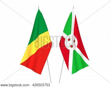 National Fabric Flags Of Burundi And Republic Of The Congo Isolated On White Background. 3d Renderin