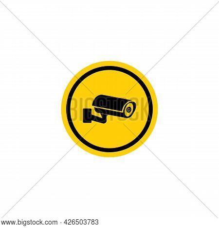 Video Surveillance Cctv Camera Black Icon On Circle Badge, Vector Illustration.