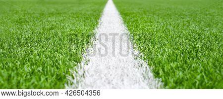 Close Up Soccer Field Lines. Background Soccer Pitch Grass Football Stadium Ground View. Stadium Fie