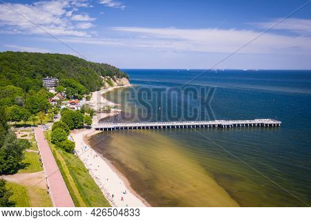 Aerial landscape of the beach and pier of the Baltic Sea in Gdynia Or?owo at summer, Poland.