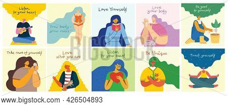 Listen To Your Heart. Love Yourself. Vector Lifestyle Concept Card With Text Don T Forget To Love Yo