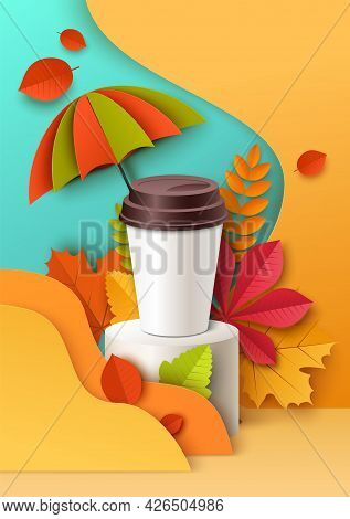Plastic Disposable Cup On Display Podium, Paper Cut Autumn Background, Vector Illustration. Takeaway
