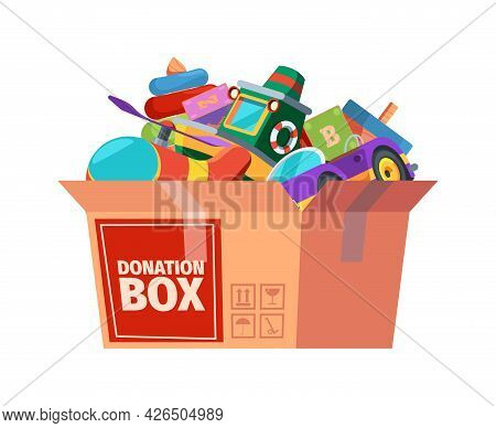 Donation Box. Children Toys In Containers Carrying For Poor Kids Support Donation For Different Peop