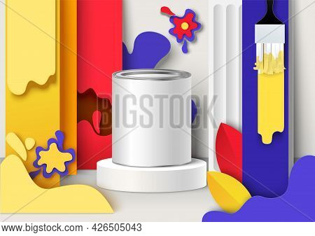 Paint Packaging Can, Container Mockup On Podium, Paper Cut Color Paintbrush Strokes Background, Vect