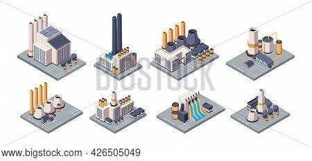 Industrial Plants. Isometric Factory Buildings With Tubes Energy Production Business Warehouses Gari