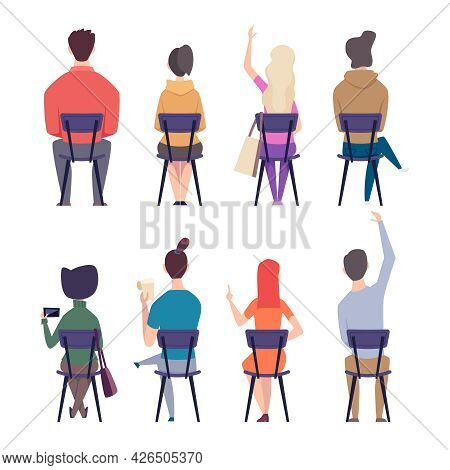 Students Back. Teenagers College People Sitting On Chairs In Lecture Room Education Characters Exact