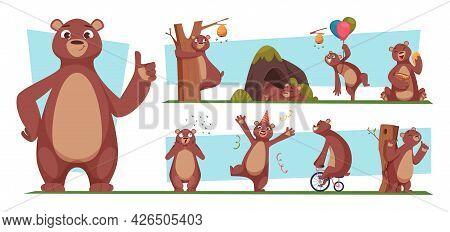 Funny Bear. Brown Wild Animal With Honey Bear Standing Jumping Cartoon Poses Exact Vector Illustrati