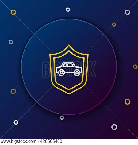Line Car With Shield Icon Isolated On Blue Background. Insurance Concept. Security, Safety, Protecti