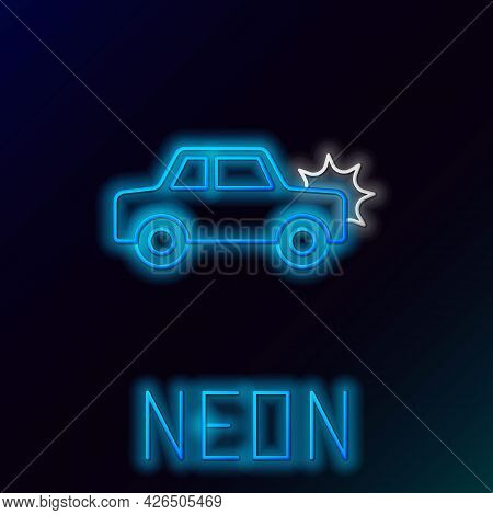 Glowing Neon Line Car Icon Isolated On Black Background. Insurance Concept. Security, Safety, Protec