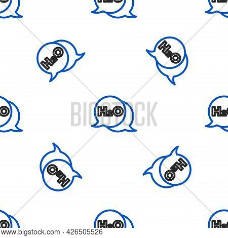 Line Chemical Formula For Water Drops H2o Shaped Icon Isolated Seamless Pattern On White Background.