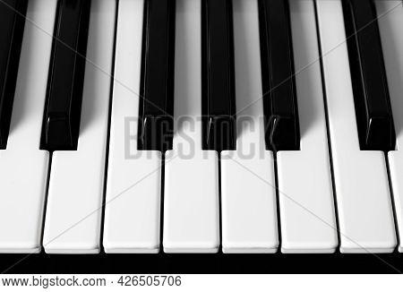 The Detail Of A Piano Keyboard Closeup