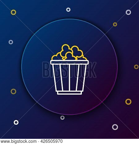 Line Popcorn In Cardboard Box Icon Isolated On Blue Background. Popcorn Bucket Box. Colorful Outline
