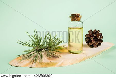 Essential Pine Oil In Glass Bottle On Wooden Saw Cut On Mint Green Background.