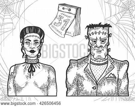 Halloween Fabulous Dead People Monsters Family Line Art Sketch Engraving Vector Illustration. T-shir