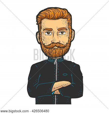 Man Character With Huge Head Color Line Art Sketch Engraving Vector Illustration. T-shirt Apparel Pr