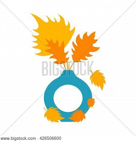 Autumn Orange And Yellow Leaves In Blue Vase. Stock Vector Illustration, Leaves In Vase. Autumn Conc