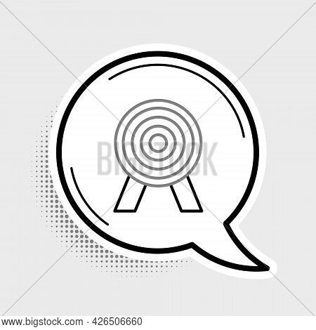 Line Target Icon Isolated On Grey Background. Dart Board Sign. Archery Board Icon. Dartboard Sign. B