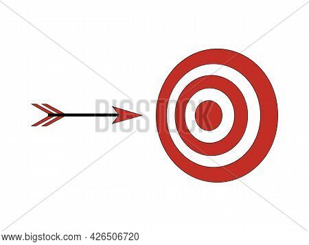 Arrow Flies To Target. Achieve Goals, Strategy, Tactics. Arrow Target Icon. Can Be Used As Sign, Sym