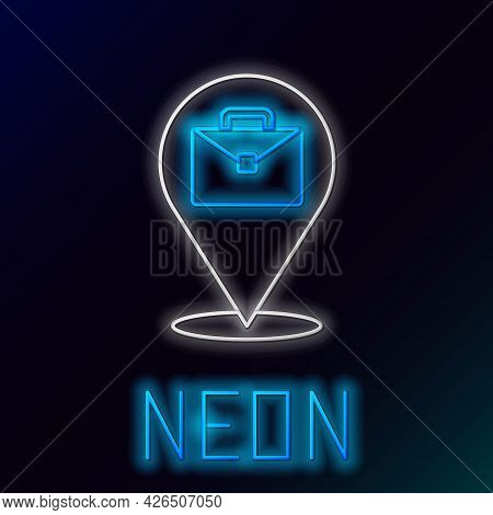 Glowing Neon Line Online Working Icon Isolated On Black Background. Freelancer Man Working On Laptop