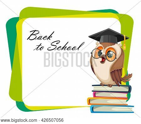 Owl In Graduation Cap Sitting On A Heap Of Book. Back To School. Wise Owl Cartoon Character. Stock V