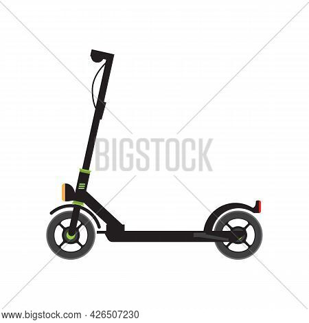 Electric Scooter Side View. Flat And Solid Color Vector Illustration.