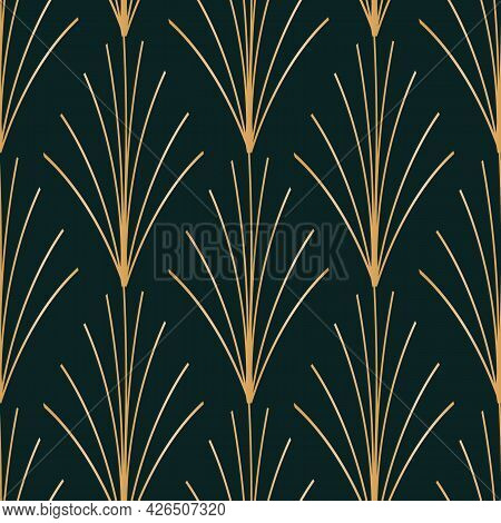 Vector Golden Leaves Art Deco Seamless Pattern