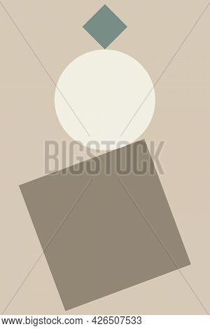 An Abstraction Of Geometric Shapes On The Topic Of Equilibrium. A Decoration For Your Home Or Office