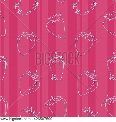 Cute Striped Children's Pattern With Strawberries And Stars. Raspberry Seamless Pattern In Line Art