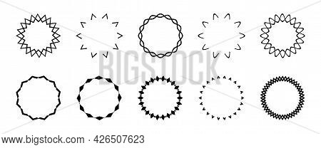 Set Of Simple Black Geometric Frames, Curly Round Frames. Geometric Borders, Templates For Text. Bla