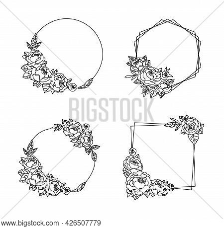 Peony Flower Frame Bundle, Floral Wreath With Peonies, Botanical Monogram Circle Frame, Black And Wh