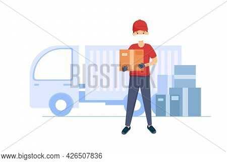 The Courier Delivered The Goods Wearing A Mask And Gloves. Logistics And Transportation. The Concept