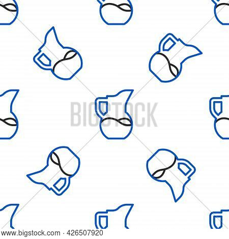 Line Milk Jug Or Pitcher Icon Isolated Seamless Pattern On White Background. Colorful Outline Concep