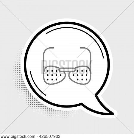 Line Glasses For The Blind And Visually Impaired Icon Isolated On Grey Background. Colorful Outline