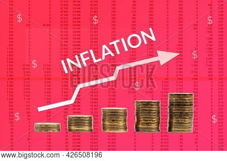 Growth Of Inflation In The World, White Arrow Of Growth On A Red Background Of Columns Of Numbers An