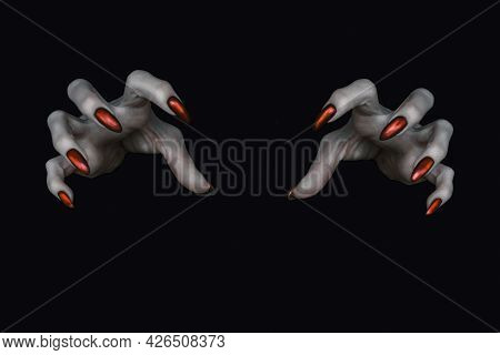 Scary Deathly Pale Knobby Fingers With Sharp Red Nails In The Dark. Witch Hands Put A Spell, Low Key