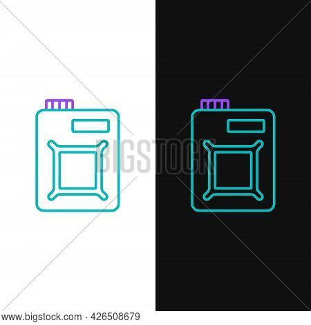 Line Canister For Motor Machine Oil Icon Isolated On White And Black Background. Oil Gallon. Oil Cha