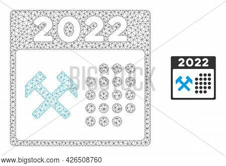 Mesh 2022 Working Days Model Icon. Wire Carcass Triangular Mesh Of Vector 2022 Working Days Isolated
