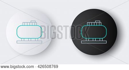 Line Oil Tank Storage Icon Isolated On Grey Background. Vessel Tank For Oil And Gas Industrial. Oil
