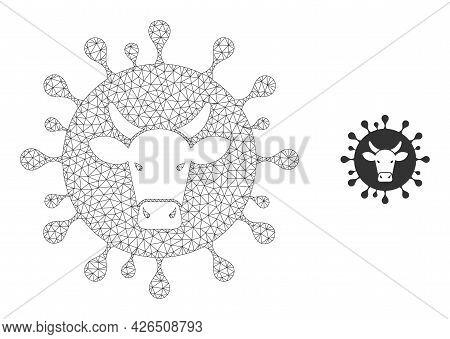 Mesh Cattle Flu Virus Model Icon. Wire Frame Triangular Mesh Of Vector Cattle Flu Virus Isolated On