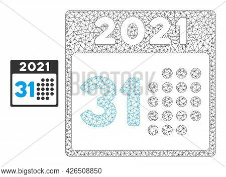Mesh Last 2021 Day Model Icon. Wire Carcass Polygonal Mesh Of Vector Last 2021 Day Isolated On A Whi