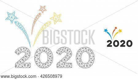 Mesh 2020 Fireworks Model Icon. Wire Frame Triangular Mesh Of Vector 2020 Fireworks Isolated On A Wh
