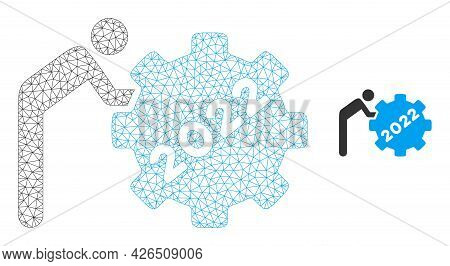 Mesh 2022 Worker Rolling Gear Model Icon. Wire Carcass Polygonal Mesh Of Vector 2022 Worker Rolling