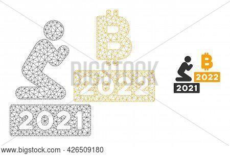 Mesh Man Pray Bitcoin 2022 Model Icon. Wire Frame Triangular Mesh Of Vector Man Pray Bitcoin 2022 Is