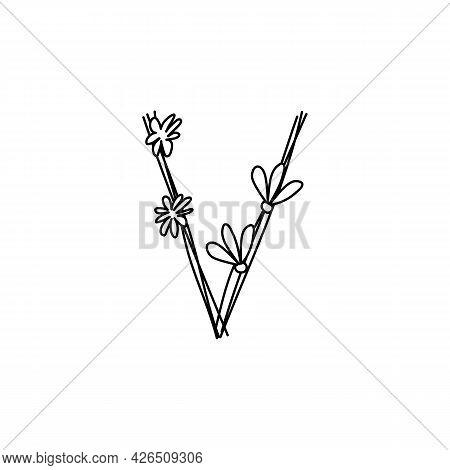 Vintage Floral Bold Letter V Logo Spring. Classic Summer Letter Design Vectors With Black Color And