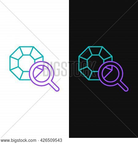 Line Gem Stone Icon Isolated On White And Black Background. Jewelry Symbol. Diamond. Colorful Outlin